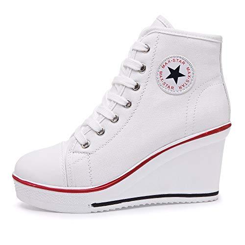 Qimaoo Damen Keilabsatz Schuhe Mädchen Canvas Sneaker Schuhe für Sport Freizeit - EU 39=CN 40(Weiß)