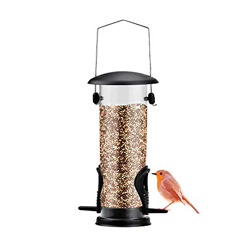 Comedero Pajaros Silvestres, Comedero Aves Colgante de 21,5 cm para Jardín Terraza Balcón - Plástico y Alambre de Acero