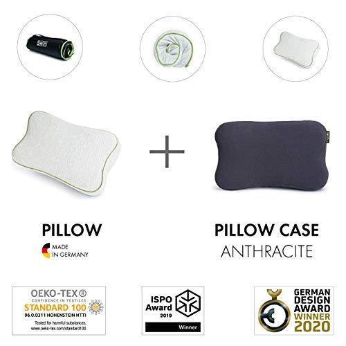 BLACKROLL Recovery Pillow im Set mit zusätzlichem Bezug in anthrazit – orthopädisches HWS Kissen (Nackenstützkissen) aus Viscose Memory Schaum - Made in Germany