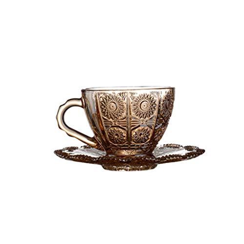 JIABAN Taza de café creativa de girasol, taza de café retro de cerámica, con mango