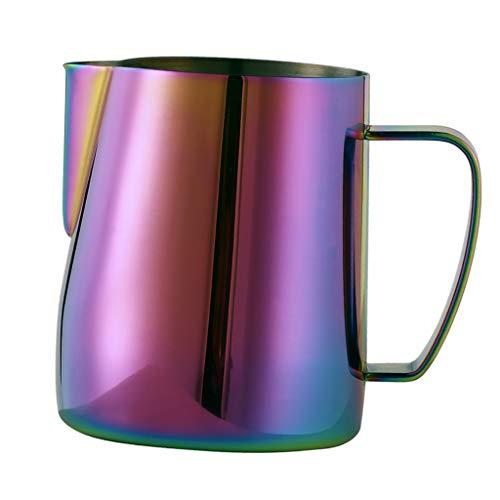 Baoblaze 350ml Milchkännchen, Edelstahl Milk Pitcher Küche Milchkanne Milch Aufschäumen für Cappuccino Kaffee Milch - Bunt