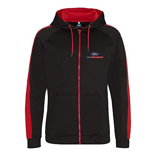 Ford Performance, giacca sportiva con cappuccio con licenza ufficiale Nero/rosso S