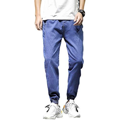 Jeans para Hombre Moda Casual Ajustable Tobillo Delgado Recortado Harem Jeans Moda Casual Cómodo Jeans 32