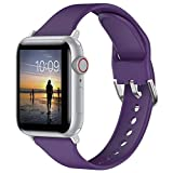 Glebo Pulsera Compatible con Apple Watch Bands 38mm 40mm para Mujer y Hombre, Silicona Suave y Fina, Pulsera Deportiva Inteligente de Repuesto para iWatch Series 6 5 4 3 2 1 SE, Morado Oscuro/pequeño