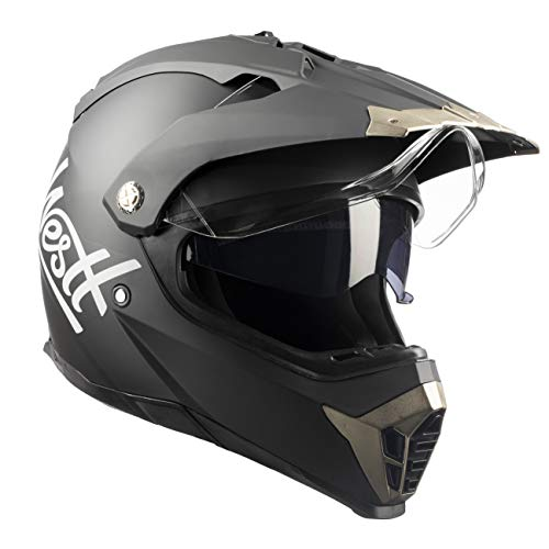 Westt Cross Dirt Bike Helmet - Matt Black Motocross Helmet Dual Visor - DOT Motorcycle Helmet for Adults on ATV MTB 4 Wheeler Snowmobile Off Road Men and Women