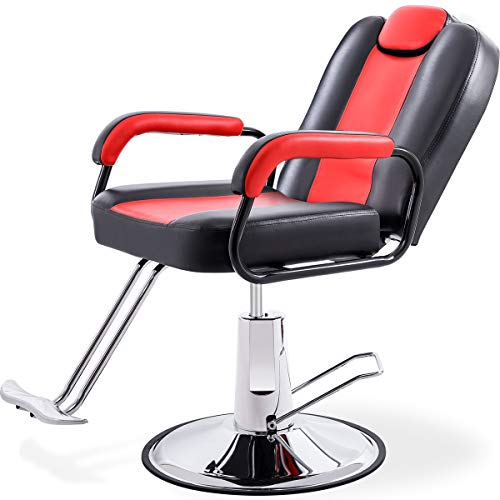 Hydraulic Recliner Barber Chair for Hair Salon with 20% Extra Wider Seat & Heavy Duty Hydraulic Pump, 2020 Upgraded Salon Beauty Equipment (Black & Red)