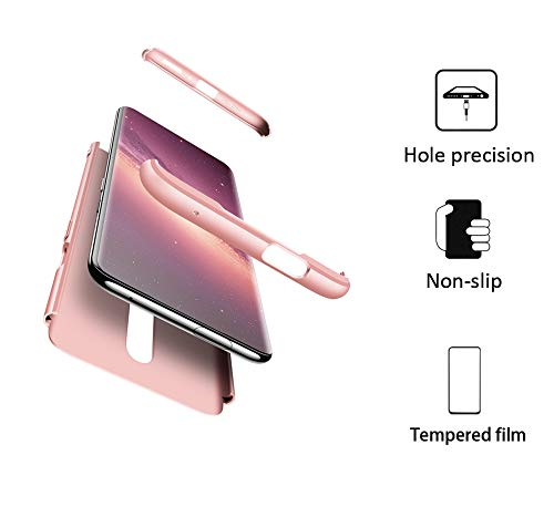 FMPC Hülle Kompatibel mit Xiaomi Redmi Note 8 Pro, 3 in 1 PC Schale Full-Cover Anti-Kratzer 360° Ultra dünn R&umschutz-Schale mit Gratis 3D Panzerglas Handyhülle Schutzhülle Case-Roségold