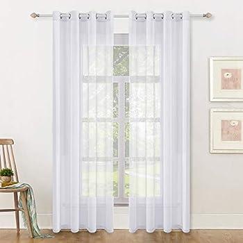 White Semi Sheer Window Curtains 2 Panels Elegant Grommet Top Window Voile /Drapes/Treatment Linen Textured Panels for Bedroom Living Room 84 inch Long