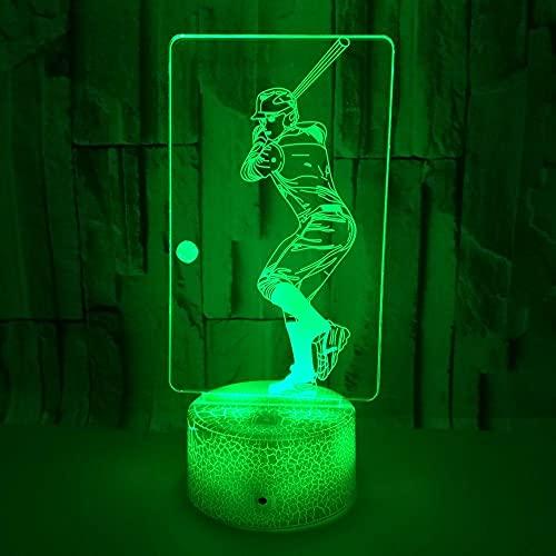 FREEZG Regalo Luz de Noche para Niños Béisbol atleta creatividad 3D LED ilusión escritorio lámpara de mesa decoración del partido del hogar multicolor de noche festival de niños dibujos animados jugu