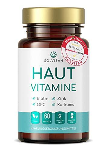 SOLVISAN HAUT VITAMINE mit Kurkuma, Aloe Vera, Silizium, Biotin, Zink und OPC - 60 Hautkapseln