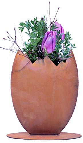 Rostikal | Edelrost Deko Osterei zum Bepflanzen | schöne Deko für Ostern und Frühling | 23 cm hoch