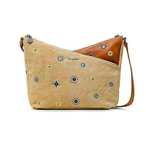 Desigual Fabric Across Body Bag, Handbag Femme, Marron, Taille Unique