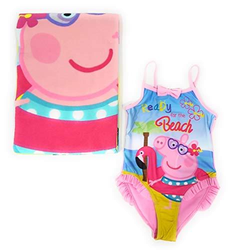 - Peppa Wutz Badeanzug für Mädchen und Peppa Wutz Mikrofaser-Badetuch für Strand oder Pool von Artesania y Diseño Textil, S.A., Pink 8 Jahre