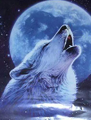 JHGJHK Pintura al óleo del Arte del Rugido del Lobo de la Noche de la Luna Llena Pintura de la decoración del Dormitorio