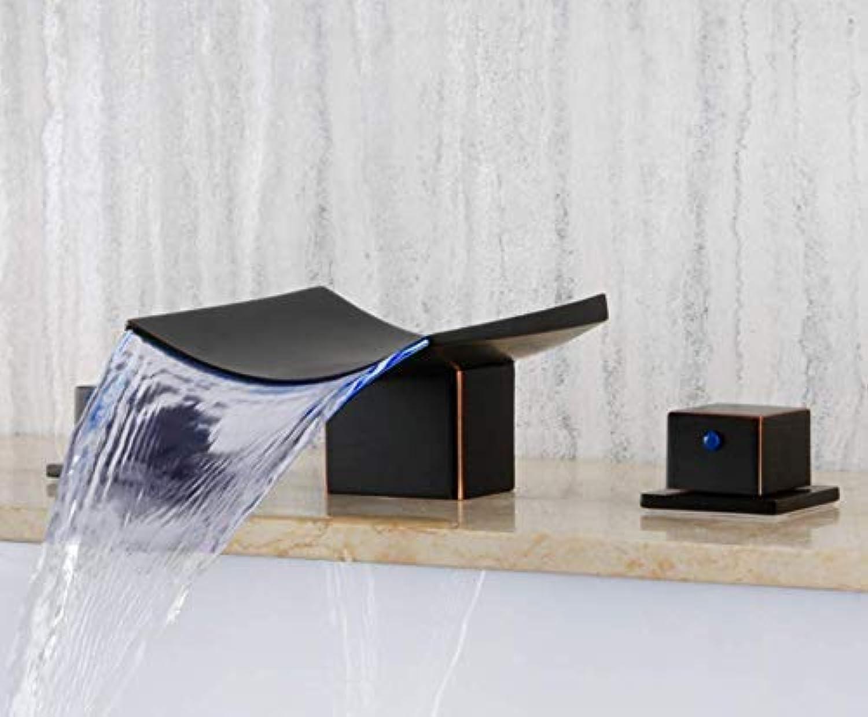 SEBAS Home Taps All Copper Led Wasserfall DREI-Loch Badezimmer Kabinett Split Becken Wasserhahn Warmen und kalten Waschbecken Becken Wasserhahn Tippen Sie auf
