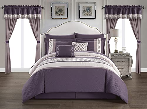 Chic Home Katrin 20 Piece Comforter Color Block Geometric Embroidered Bag Bedding-Sheet Set Pillowcases Window Treatments Decorative Pillows Shams Included, King, Plum