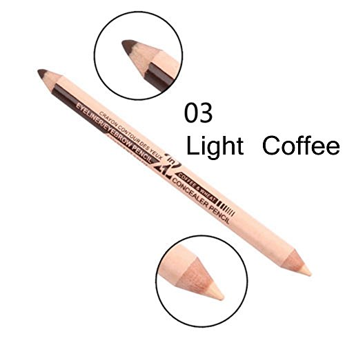 Eyeliner potlood, 2 stuks, dames, modieus, waterdicht, lang, duurzaam, make-upgereedschap, eyeliner potlood, dubbel geëindigd wenkbrauwpen+concealer 03
