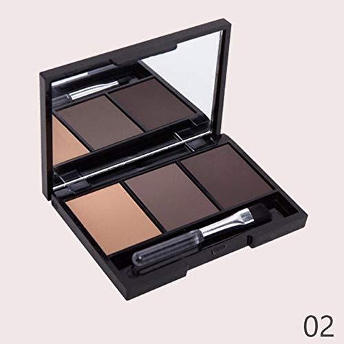 JSZWGC 3 Couleur des Yeux Ombre à Sourcils Maquillage Palette Longue durée imperméabiliser Up Shades Sourcils Poudre pigmenté Mat Fard à paupières Pallete (Color : 02)