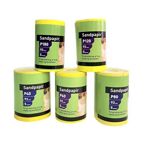 KAHEIGN 5Pcs Schleifpapier Aluminiumoxid Sandpapier, 9.3cm x 5m Schleifpapier Rollen mit Körnung 40/60 /80/120 /180 für Handwerkzeuge Elektrowerkzeuge