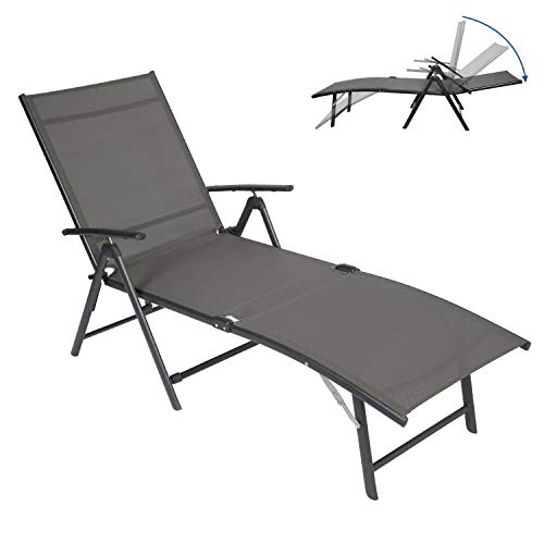 Circrane Outdoor Lounge Chair, Textiline Folding Chaise, Lounge Recliner for Beach/Yard/Pool/Patio with 7-Positions Adjustable backrest & Foldable Footrest (Grey)