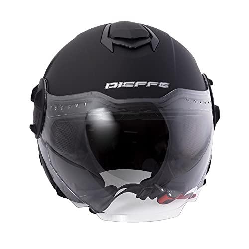 DIEFFE Demjet DF70 - Casco unisex con visera solar esférica antiarañazos para scooter o moto, homologado ECE 22 05, ventilación ajustable y antivaho.