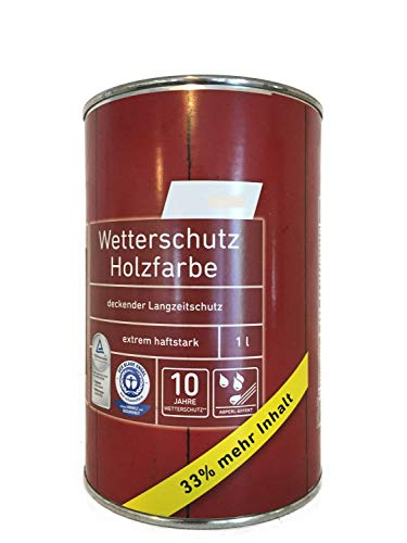 3x1Liter Ostendorf Wetterschutz Holzfarbe, innen&außen, seidenmatt, 3 Liter, Farbwahl, Farbe:Schwedenrot