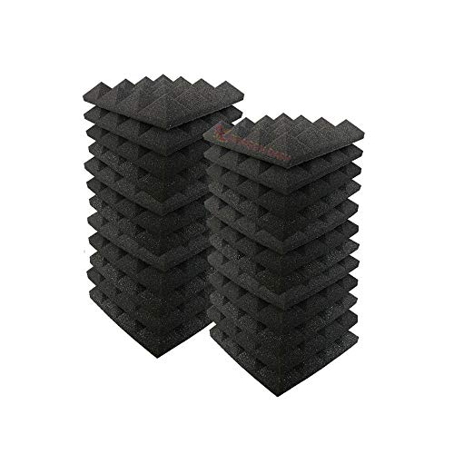 Arrowzoom 24 Panels absorción de sonido Pirámide Espuma acústica Absorcion aislamiento acustico auto extinguible 25x25x5cm Negro