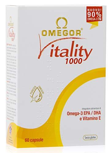 Omega 3 OMEGOR® Vitality 1000-90% di Omega-3 TG! Certificato IFOS dal 2006. 800mg EPA e DHA per capsula in rapporto 2:1. Struttura min. 90% Trigliceridi e distillazione molecolare | 60 cps da 1000