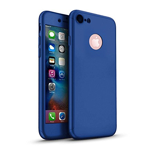 Funda iPhone 6 6s Plus 360 Grados Integral para Ambas Caras + Protector de Pantalla de Vidrio Templado,[ 360 ° ] [ Azul ] Case/Cover/Carcasa iPhone 6 6s Plus (iPhone 6 6s Plus 5.5inch, Azul)