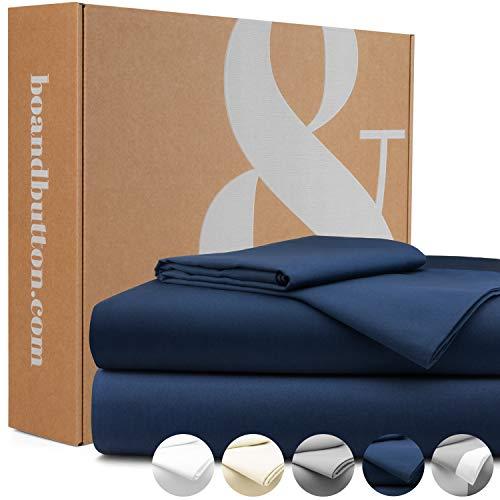 bo&button® Mako Satin Bettwäsche, echte Luxusqualität, Set 155x 220 cm, 100% feinste GOTS Bio Baumwolle, Navy/Dunkelblau/Marineblau