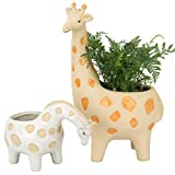 Ceramic Giraffe Succulent Planter Pots - 11.4 + 4.9 Inch Tall Cute Animal Rough Pottery Indoor Flower Plant Pots, Home Decor Gift