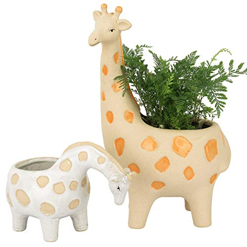 Ceramic Giraffe Succulent Planter Pots  114  49 Inch Tall Cute Animal Rough Pottery Indoor Flower Plant Pots Home Decor Gift