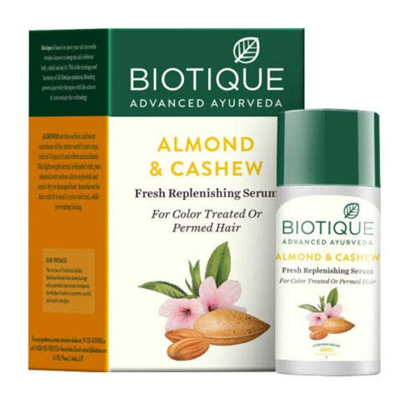 エレメンタルベアリングサークルドラフトBiotique Bio Almond & Cashew Fresh Replenishing Serum 40 ml For Permed Hair パーマ髪のためのBiotiqueバイオアーモンド&カシューナッツ新鮮な補給血清