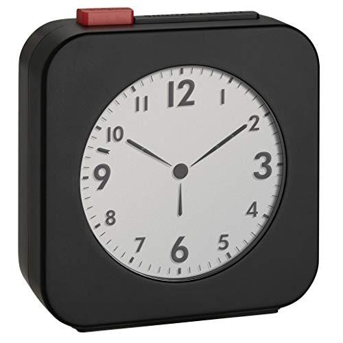 TFA Dostmann 60.2555.01, draadloze wekker, met LCD-display met analoge tijdsweergave, ideaal als reiswekker, wekalarm, zwart/rood, kunststof, (L) 72 x (B) 27 x (H) 77 mm