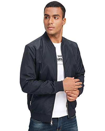 CAMEL CROWN Mens Bomber Jacket Lightweight Softshell Windbreaker Waterproof Coat Slim Fit with Zip Pockets Deep Blue Large