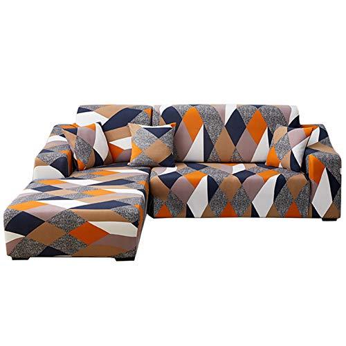 Ryoizen Cubre Sofá Chaise Longues Elásticas,Modernas Fundas de Sofá Cheslong Estampada Antideslizante Lavables,Funda Protectora para Sofá en Forma de L 2 Piezas(Geometría,2 Plazas+2 Plazas)