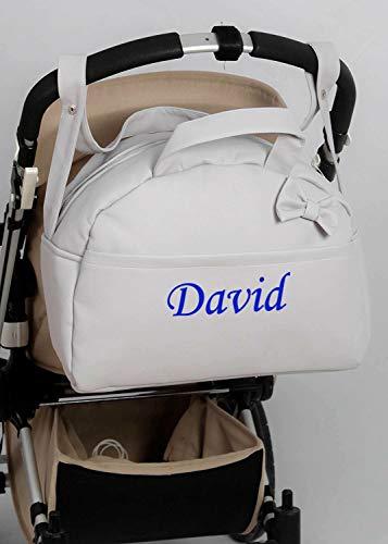 danielstore- Bolso Carro Bebe Personalizado Acolchado con Nombre Bordado. Color Gris