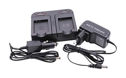 vhbw Dual Akkuladegerät kompatibel mit Ricoh DB-100 Digitalkamera, Camcorder, Action Cam-Akku - Ladeschale