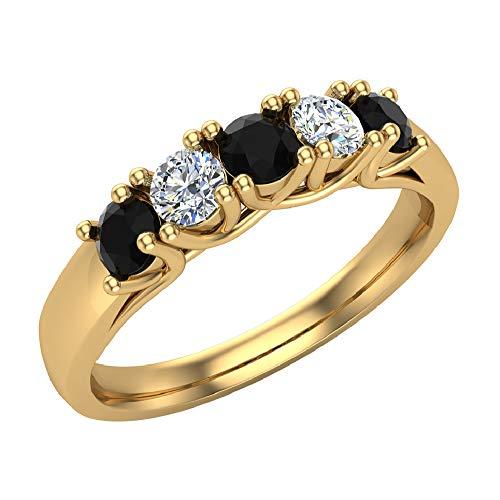 Glitz Design Mujer Niños Hombre Unisex oro 14 quilates (585) oro amarillo 14 quilates (585) Round Brilliant Black IJ diamanre negro