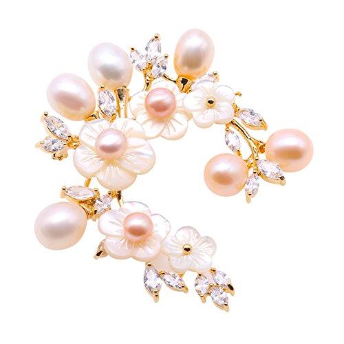 jyx brosche blume Shell Blume Süßwasserperle Broschen Pins Bouquet Jewelry brosche weihnachten