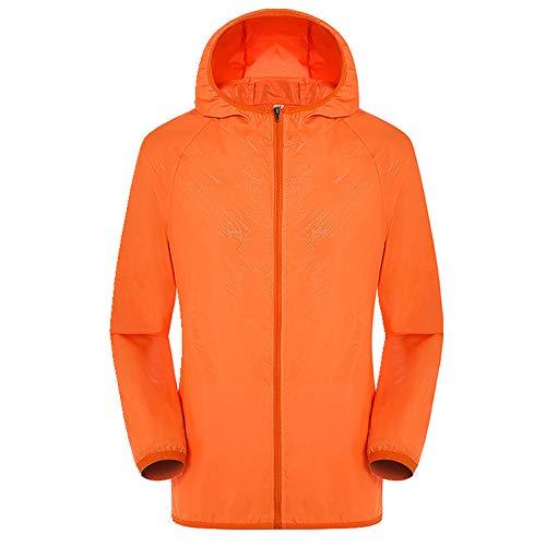 Hommes Femmes Adulte Imperméable Hommes Femmes Casual Vestes Coupe-Vent Ultra-Léger Coupe-Vent Coupe-Vent Haut Manteau de Pluie - Orange - L