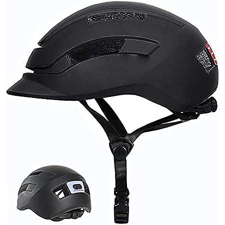 自転車 ヘルメット 成人 LEDライト付き 軽量 自転車 ヘルメット ライト USB充電 大人用 頭囲 54〜61cm 13歳から 中学生 高校生 インモールド成形 自転車 流線型 調整可能 ロードバイク 通勤 通学 大人用 男女兼用 (マットブラック, L)