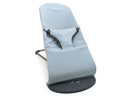 Blausberg Baby Bezug für BabyBjörn Balance Soft und Bliss Babywippe (Hellblau/Beige gestreift) 100% Baumwoll-Jersey, OEKO-TEX® Standard 100 zertifiziert