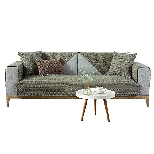 YUTJK Funda de sofá de Esquina,Fundas de Asiento de sofá de Tela para Sala de Estar,Funda Protectora de Muebles,Cubierta de sofá de algodón Tejido de algodón-Verde_90×90cm