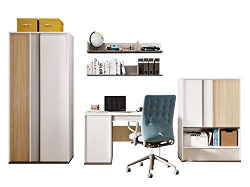 Mirjan24 Imola II - Juego de dormitorio infantil (5 piezas, armario con puertas giratorias, cómoda, escritorio, 2 reglas de pared, color blanco/grafito + Salisbury + gris claro)