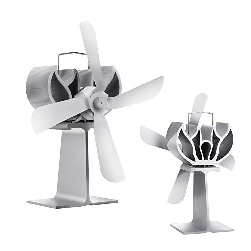 Ventiladores De Chimenea Ventilador De Estufa De Calor Para Estufa De Leña De Leña Ventilador De Estufa De Madera De 4 Palas - Ventilador Ecológico Para Una Distribución Eficiente Del Calor - Negro