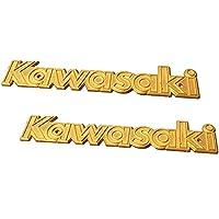 Fenglinder KAWASAKI カワサキ エンブレム 立体エンブレム 真鍮製エンブレム タンクエンブレム ロングピッチ ゴールド 2枚セット… (黄)