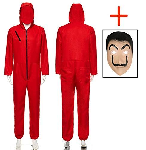 Seawhisper Haus des Geldes Kostüm Overall Kinder Jungen Herren Jumpsuit Rot mit Dali Maske 164 170 S