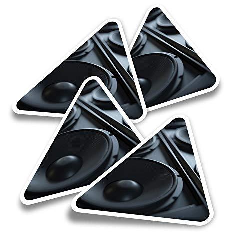 Pegatinas triangulares de vinilo (juego de 4) – Altavoces musicales DJ Fun Calcomanías para portátiles, tabletas, equipaje, reserva de chatarra, nevera #14351