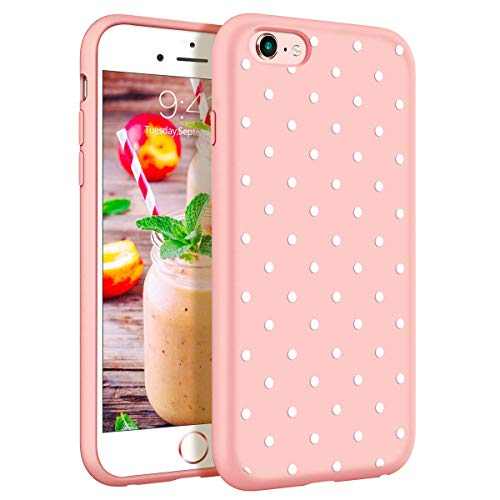 ZhuoFan Funda iPhone 6s Plus / 6 Plus, Cárcasa Silicona Rosa con Dibujos Diseño Suave TPU Antigolpes de Protector Piel Case Cover Bumper Fundas para Movil Apple iPhone 6sPlus / 6Plus, Lunares Blanca